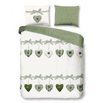Good Morning Dekbedovertrek Hearts (Green)