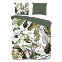 Good Morning Flanel dekbedovertrek Leaves (Green)