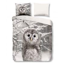 Good Morning Flanel dekbedovertrek Owl (Grey)