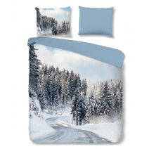 Good Morning Flanel dekbedovertrek Snowy Road (Multi)