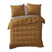 Yellow dekbedovertrek Percale (Cognac Brown)
